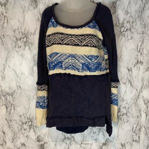 Free People Long Print Pattern Knit Sweater Blue